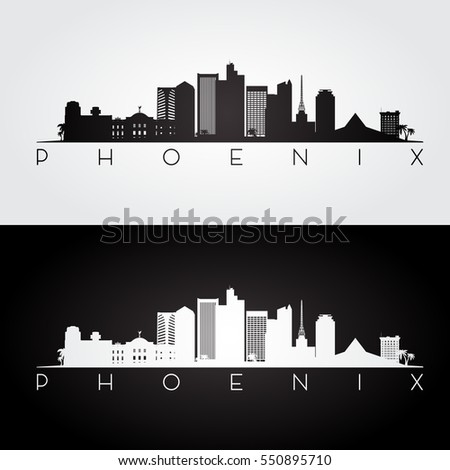 Phoenix USA skyline and landmarks silhouette, black and white design, vector illustration.