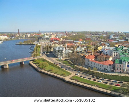 Russian Federation. Top-view of the city of Vyborg  #551035132