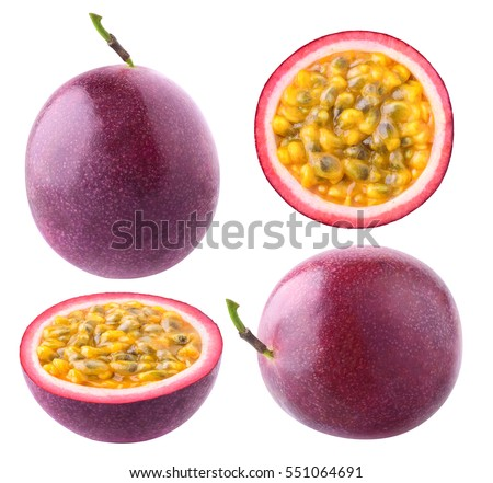 Isolated passionfruit. Collection of whole and cut passion fruits (maracuya) isolated on white background with clipping path Royalty-Free Stock Photo #551064691