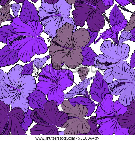 Various hibiscus hawaiian tropical flowers in violet and purple colors on a white background. Vector floral seamless pattern. #551086489