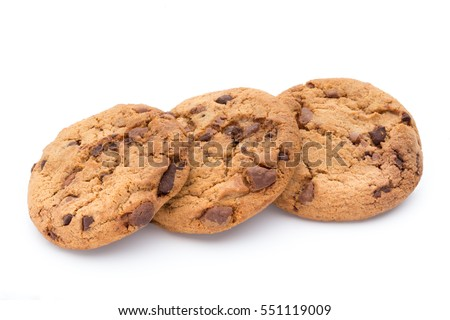 Chocolate chip cookie on white background. #551119009
