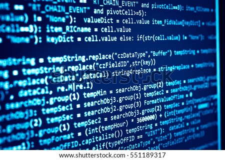 Software developer programming code. Abstract computer script code. Programming code screen of software developer. Software Programming Work Time. Code text written and created entirely by myself.
