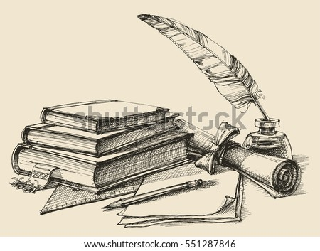 Stack of books, paper, pencil, scroll, quill pen and ink. Diploma, certificate, school, study, writing, literature, library design in vintage style Royalty-Free Stock Photo #551287846