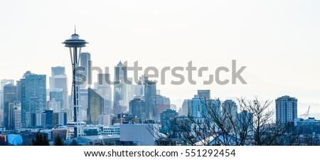 View of Seattle Day Light Winter skyline, WA, USA