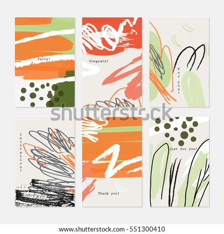 Rough textured strokes floral sketch light gray with orange.Hand drawn creative invitation greeting cards. Poster, placard, flayer, design templates. Anniversary, Birthday, wedding, party cards  #551300410