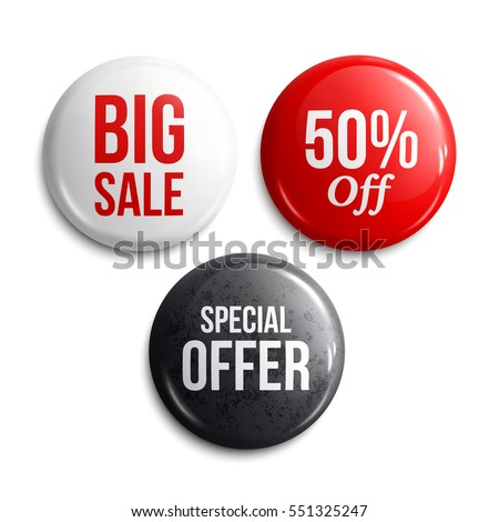 Set of glossy sale buttons or badges. Product promotions. Big sale, special offer, 50% off. Vector. Royalty-Free Stock Photo #551325247