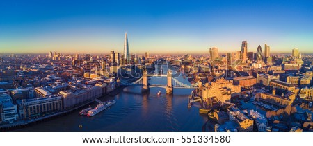 Aerial panoramic cityscape view of London and the River Thames, England, United Kingdom #551334580