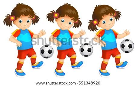 Cartoon child - girl - playing football - activity - illustration for children