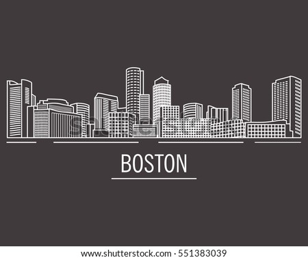 City landscape of Boston in linear flat style on a black background.Down town American landscape with skyscrapers and high-rise buildings in flat style a vector.View of Boston from the river