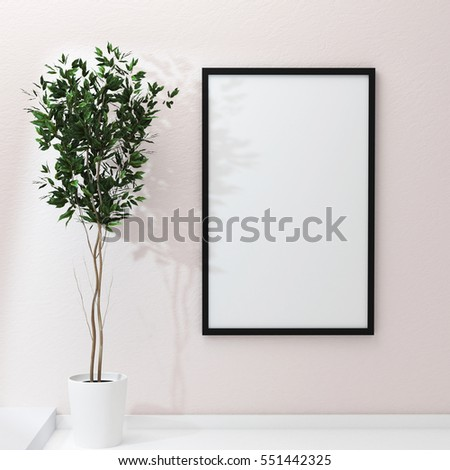 Poster frame mockup on wall and green home flovers. 3d rendering #551442325