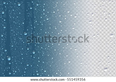 Vector Photo Realistic Image Of Raindrops Or Vapor Trough Window Glass