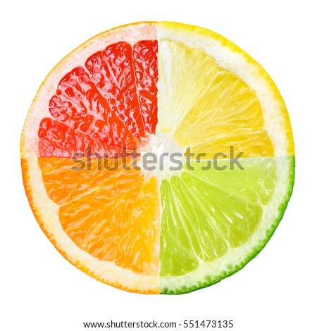 Citrus fruit. Collage of orange, lemon, lime, grapefruit slices isolated on white. #551473135