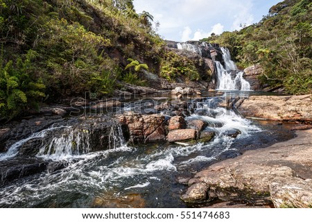 Baker's Falls in Horton Plains National Park, Sri Lanka. Beautiful tropical landscape. #551474683