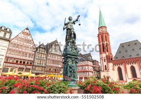 old town square romerberg with Justitia statue in Frankfurt Germany Royalty-Free Stock Photo #551502508