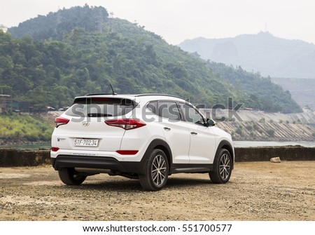 Hoabinh, Vietnam - Nov 29, 2016: Hyundai Tucson all-new 2016 model on test road in test-drive, Vietnam. Hyundai, the automotive industry's fifth largest automobile manufacturer in the world. #551700577