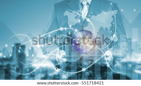double exposure businessman on city and network line concept background. blockchain and bitcoin concept.(Elements of this image furnished by NASA) #551718421