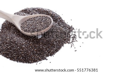 Dry chia seeds in spoon on white background #551776381