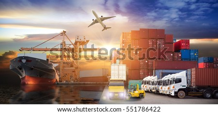 Logistics and transportation of Container Cargo ship and Cargo plane with working crane bridge in shipyard at sunrise, logistic import export and transport industry background #551786422