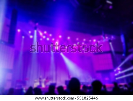 burred image of music concert stage with nice color light, can be used  for decoration or background #551825446