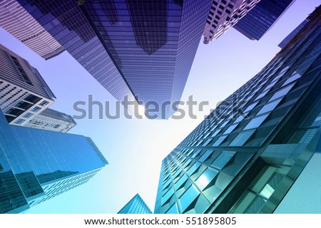 San Francisco skyscrapers low angle view Royalty-Free Stock Photo #551895805
