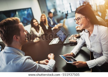 Entrepreneurs and business people conference in modern meeting room Royalty-Free Stock Photo #551937505