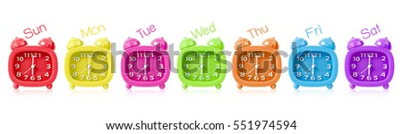 Row of many colorful alarm clock  isolated on white background. #551974594
