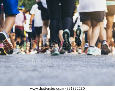 Marathon runners Group People Race Outdoor Sport Training #551982280