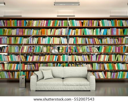 bright and modern books on the shelves in the library, a comfortable place to read. 3d illustration #552007543
