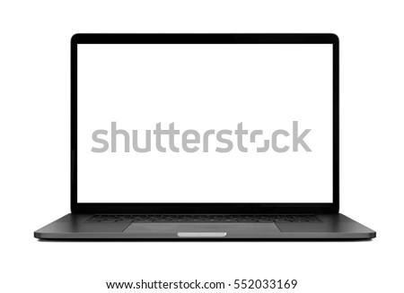Laptop with blank screen isolated on white background mockup, white aluminium body. Royalty-Free Stock Photo #552033169