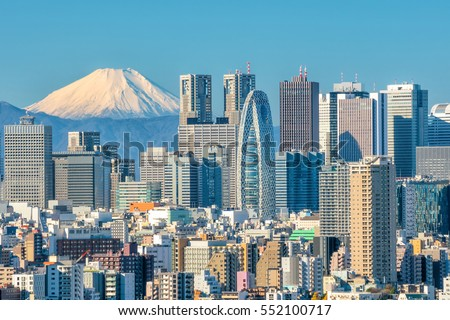 Tokyo skyline and Mountain fuji in Japan