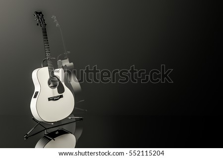 White electro-acoustic guitar on chrome stand with dark background and reflection. 3D rendered. Copy space or room for text. #552115204