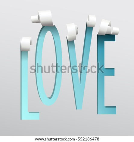 Blue Love paper cut out with swirls at the top. #552186478