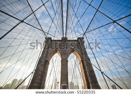 Upward image of Brooklyn Bridge in New York #55220335