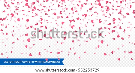 Heart confetti of Valentines petals falling on transparent background. Flower petal in shape of heart confetti for Women's Day Royalty-Free Stock Photo #552253729
