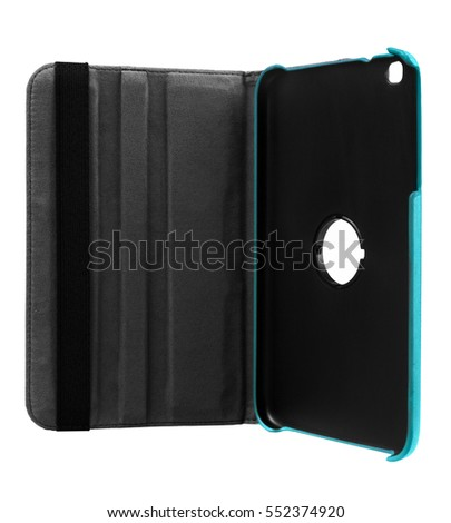 Blue case open front for tablet on white background #552374920