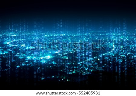 abstract digital signature over night city background