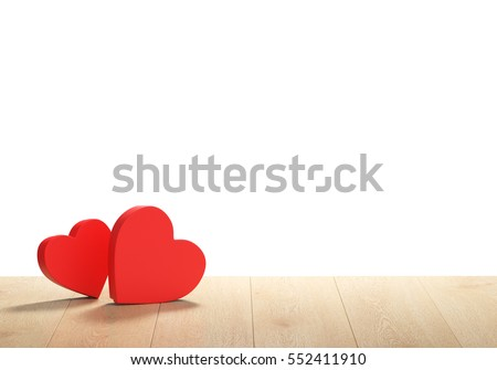 3D render of heart shape boxes on white background.