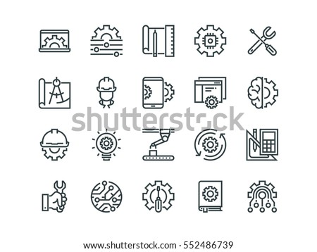 Engineering. Set of outline vector icons. Contains such Icons as Manufacturing, Engineer, Production, Settings and more. Royalty-Free Stock Photo #552486739