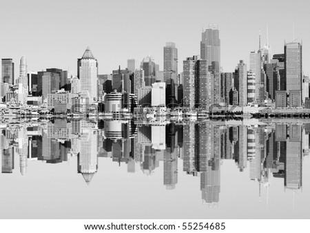photo new york city skyline over the hudson river. black and white new york midtown manhattan landmark. #55254685