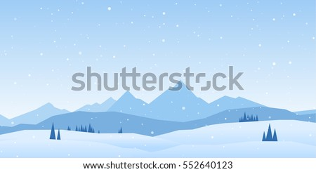 Vector illustration: Winter Mountains landscape with pines and hills. Royalty-Free Stock Photo #552640123