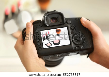 Photo of makeup kit on camera display while shooting #552735517