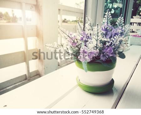 Vintage,Flowerpot in coffee shop #552749368