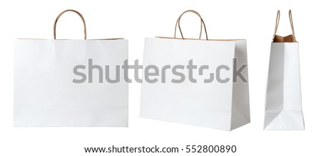 White paper shopping bags isolated on white background Royalty-Free Stock Photo #552800890