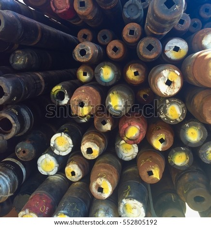 Joints of tubing and drill pipe lay down on main deck #552805192