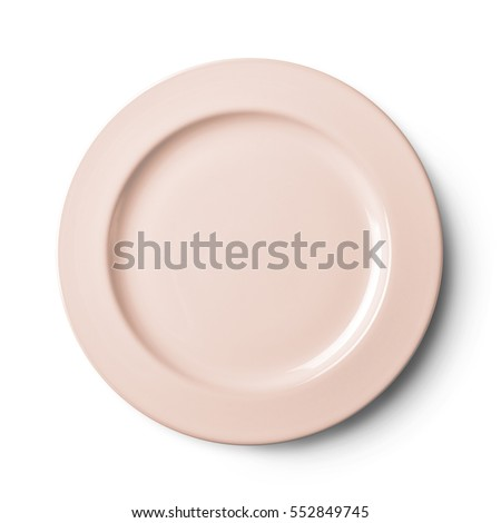 Empty plate pattern design . Isolated on white background. View from above with clipping path #552849745