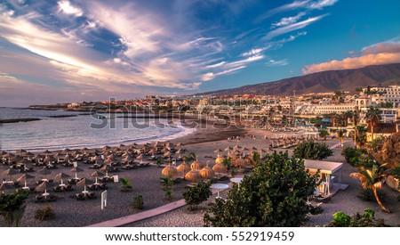 Las Americas beach in Tenerife island - CanarySpain Royalty-Free Stock Photo #552919459