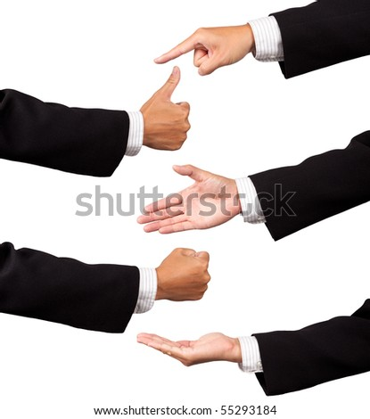 multiple businessman hands isolated on white background #55293184