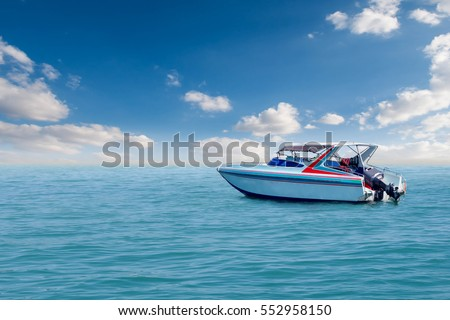 Boat speed boat on the sea with sky natural beauty. #552958150