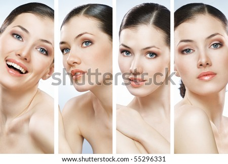 beauty girl on the blue background collage #55296331