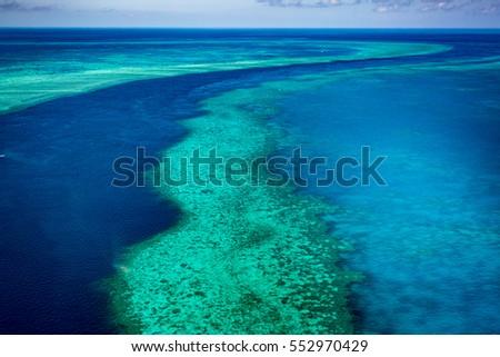 Great Barrier Reef, Queensland, Australia. Airlie beach scenic flight. Hardy Reef #552970429